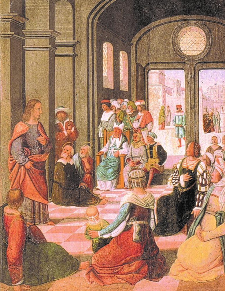 A gauche : la prédication du Christ (détail)
