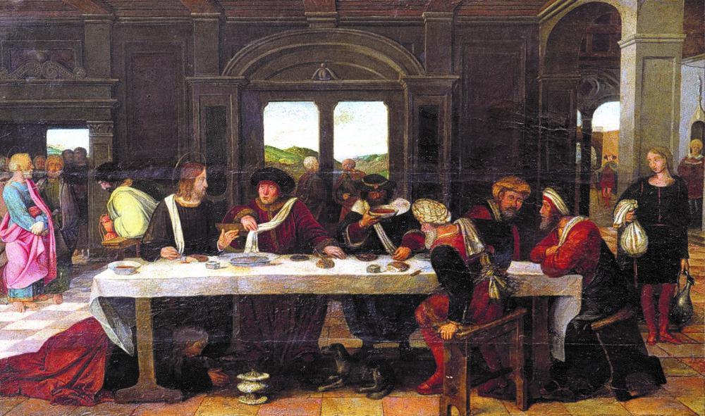 Au centre : repas chez Simon le Pharisien (détail)