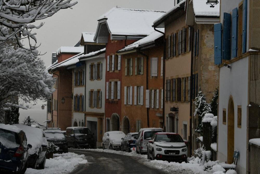 Le vieux bourg de Cormondrèche sous la neige